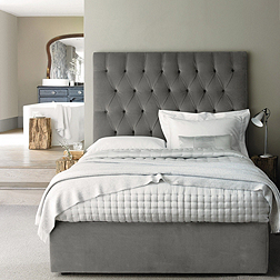Richmond Bed - Silver & Stone