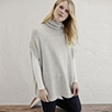 Relaxed Roll Neck Sweater - Silver Gray Marl