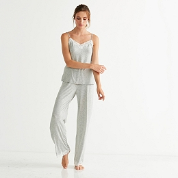 Contrast Lace Trim Pajama Set