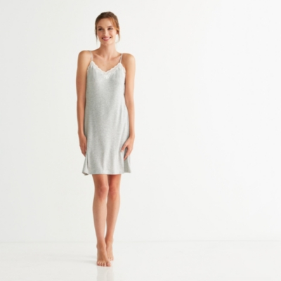 Contrast Lace Trim Nightgown