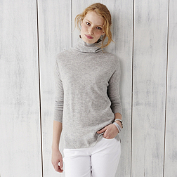 Roll Neck Side Panel Jumper - Pale Grey Marl