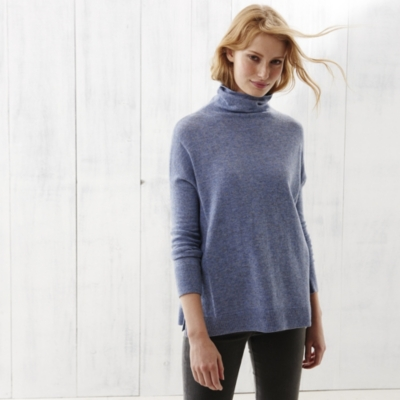 Roll Neck Side Panel Sweater - Mid Blue Marl