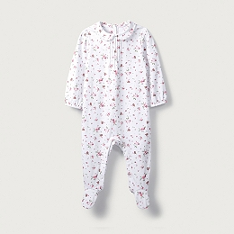 Winter Robin Print Sleepsuit
