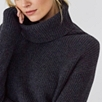 Rollneck Ribbed Knitted Dress