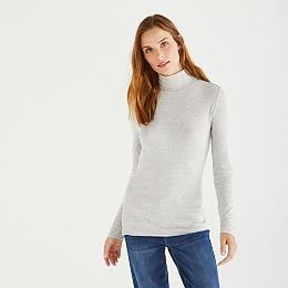 Rib Roll-Neck Sweater - Cloud Marl