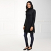 Ribbed Roll Neck Tunic - Dark Charcoal Marl
