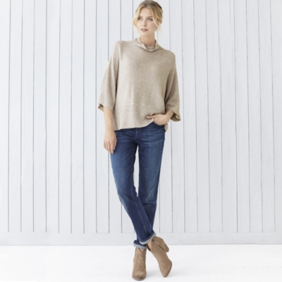 Rollneck Ribbed Wide Sweater - Taupe Marl