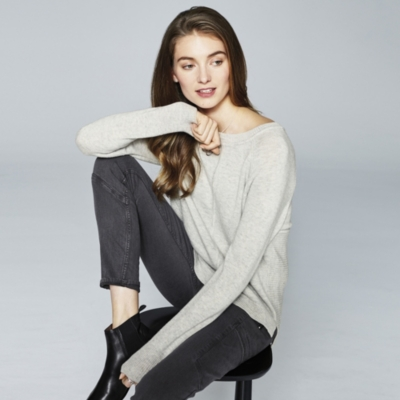 Rib Panel Back Split Sweater
