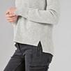 Rib Panel Back Split Sweater