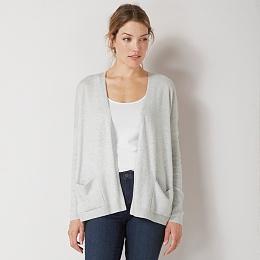 Ribbed Sleeve Cardigan - Pale Gray Marl