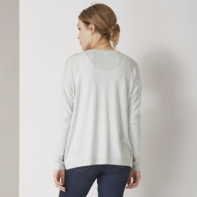 Ribbed Sleeve Cardigan - Pale Gray Marl