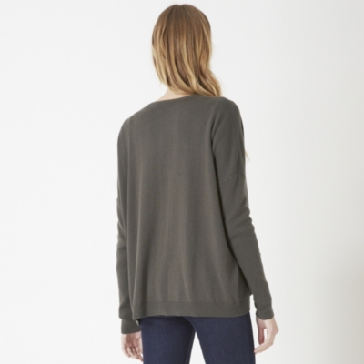 Ribbed Sleeve Cardigan - Khaki
