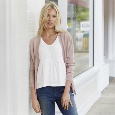 Rib Shoulder Side Split Cardigan - Pink