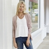 Rib Shoulder Side Split Cardigan - Pink