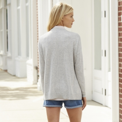 Rib Shoulder Side Split Cardigan - Pale Gray Marl
