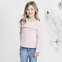 Ruffle Front T-Shirt - Whisper Pink