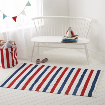 Red & Blue Stripe Rug