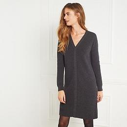 Rib V-Neck Knitted Dress