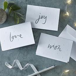 Wish, Joy, Love Christmas Cards – Set of 12