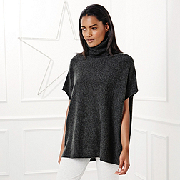 Relaxed Roll Neck Jumper - Dark Charcoal Marl