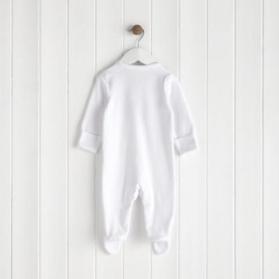 Star Trim Velour Sleepsuit - White