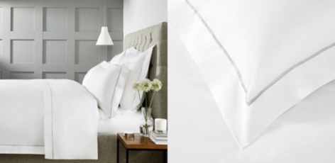 Savoy Bed Linen Collection - White Silver