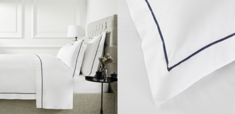 Luxury Savoy Bed Linen Collection - White Navy