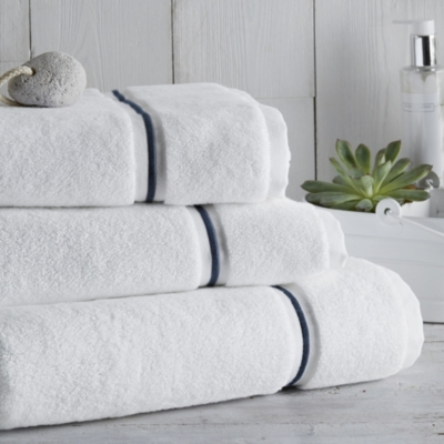 Savoy Towels - White Navy