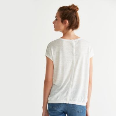 Linen Short Sleeve Striped Sweater