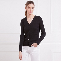 Silk-Cotton Ribbed Cardigan