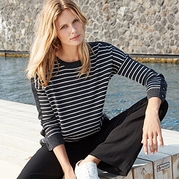Stripe Button Cuff Jumper