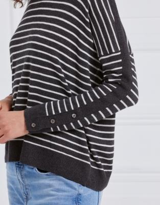 Stripe Button Cuff Jumper