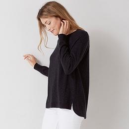 Split Back Detail Sweater - Dark Charcoal Marl