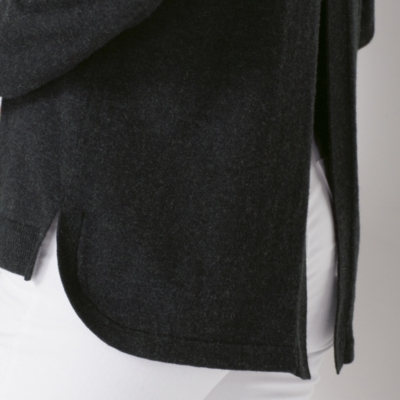 Split Back Detail Sweater - Dark Charcoal Marl