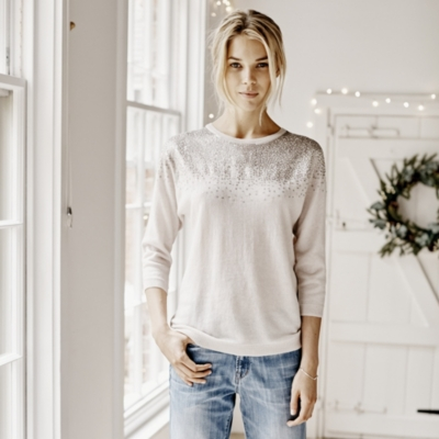 Sequin Batwing Sweater - Champagne