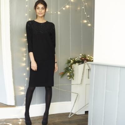 Sequin Batwing Sweater - Black
