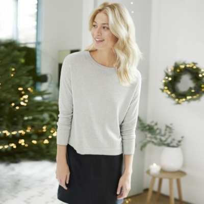 Sparkle Boxy Sweater - Pale Gray Marl