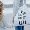 White Heart Canvas Shopper Bag
