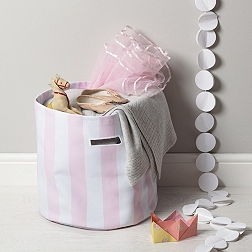 Pink Stripe Storage Bag