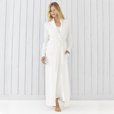 Shawl Collar Cashmere Robe - Porcelain