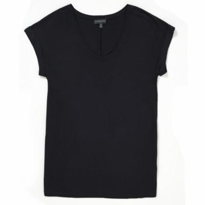 Scoop Neck Boxy T-Shirt - Black