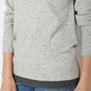 Speckled Contrast Hem V Neck Sweater