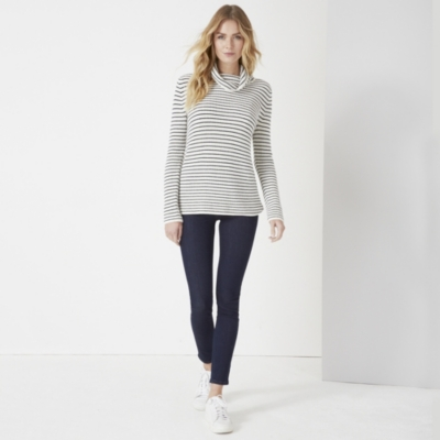 Stripe Ribbed Chunky Roll Neck Sweater