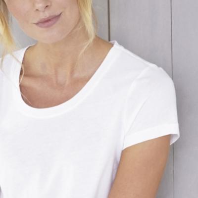 Soft Cotton Scoop Neck T-Shirt - White