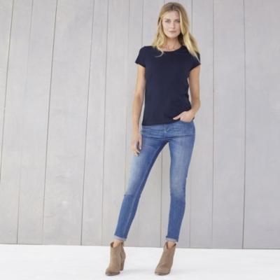 Soft Cotton Scoop Neck T-Shirt - Navy