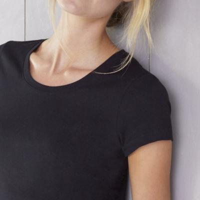 Soft Cotton Scoop Neck T-Shirt - Black