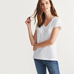 Soft Cotton V Neck T-shirt  - White