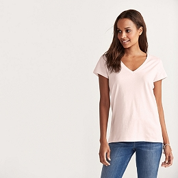 Soft Cotton V-Neck T-shirt  - Pale Pink
