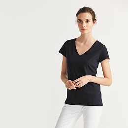 Soft Cotton V-Neck T-shirt  - Navy
