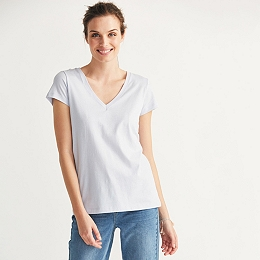 Soft Cotton V-Neck T-shirt  - Pale Blue